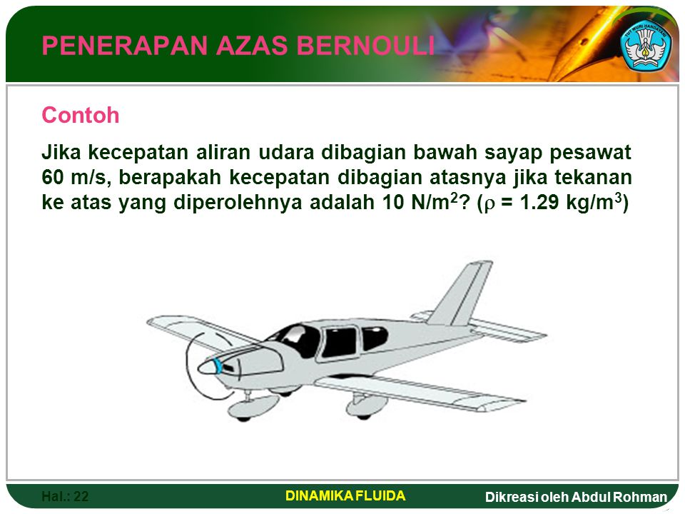 Dikreasi oleh Abdul Rohman Hal.: 22 DINAMIKA FLUIDA PENERAPAN AZAS BERNOULI Jika kecepatan aliran udara dibagian bawah sayap pesawat 60 m/s, berapakah