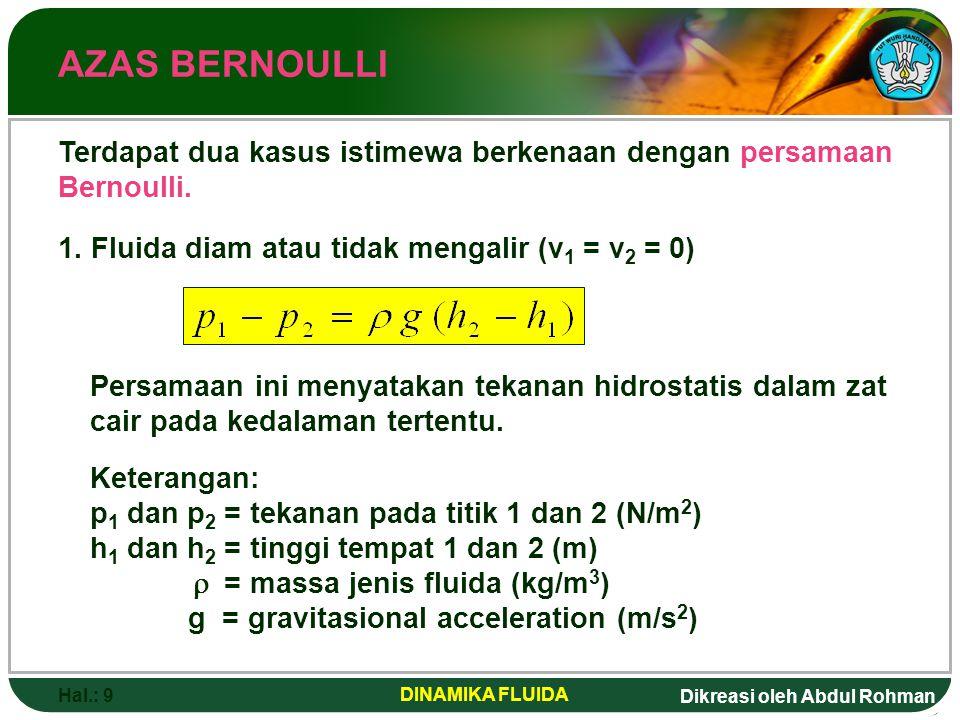 Dikreasi oleh Abdul Rohman Hal.: 9 DINAMIKA FLUIDA AZAS BERNOULLI Terdapat dua kasus istimewa berkenaan dengan persamaan Bernoulli. 1. Fluida diam ata
