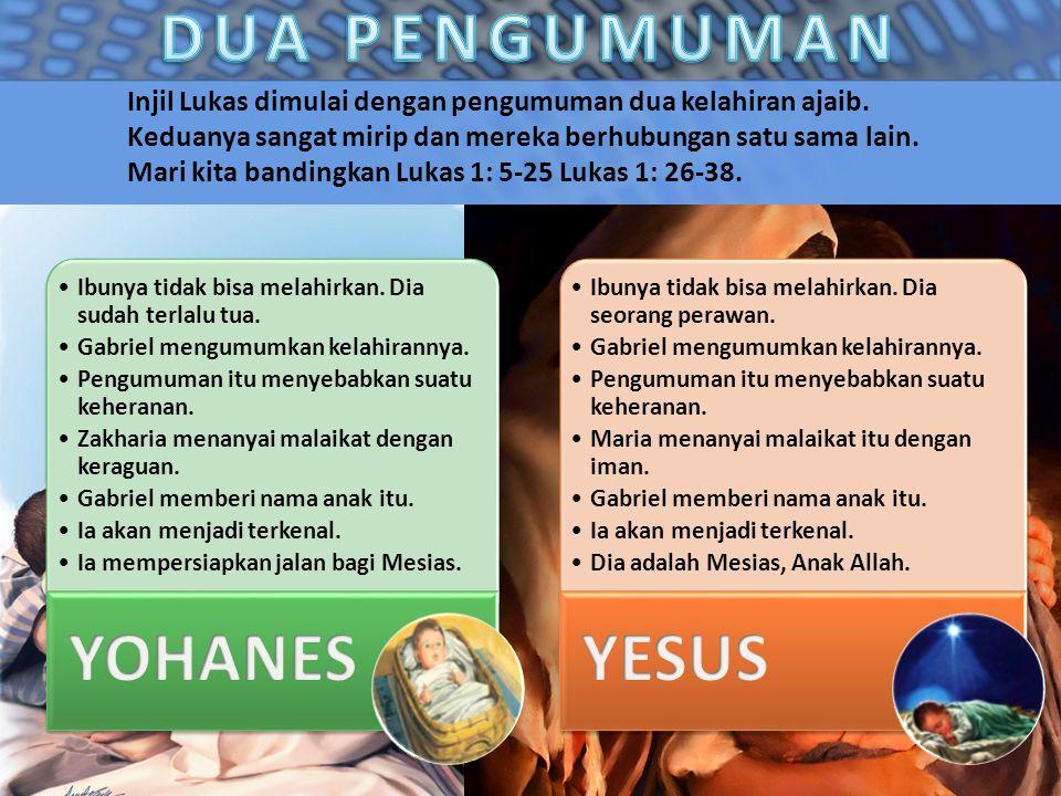 Injil Lukas dimulai dengan pengumuman dua kelahiran ajaib. Keduanya sangat mirip dan mereka berhubungan satu sama lain. Mari kita bandingkan Lukas 1:
