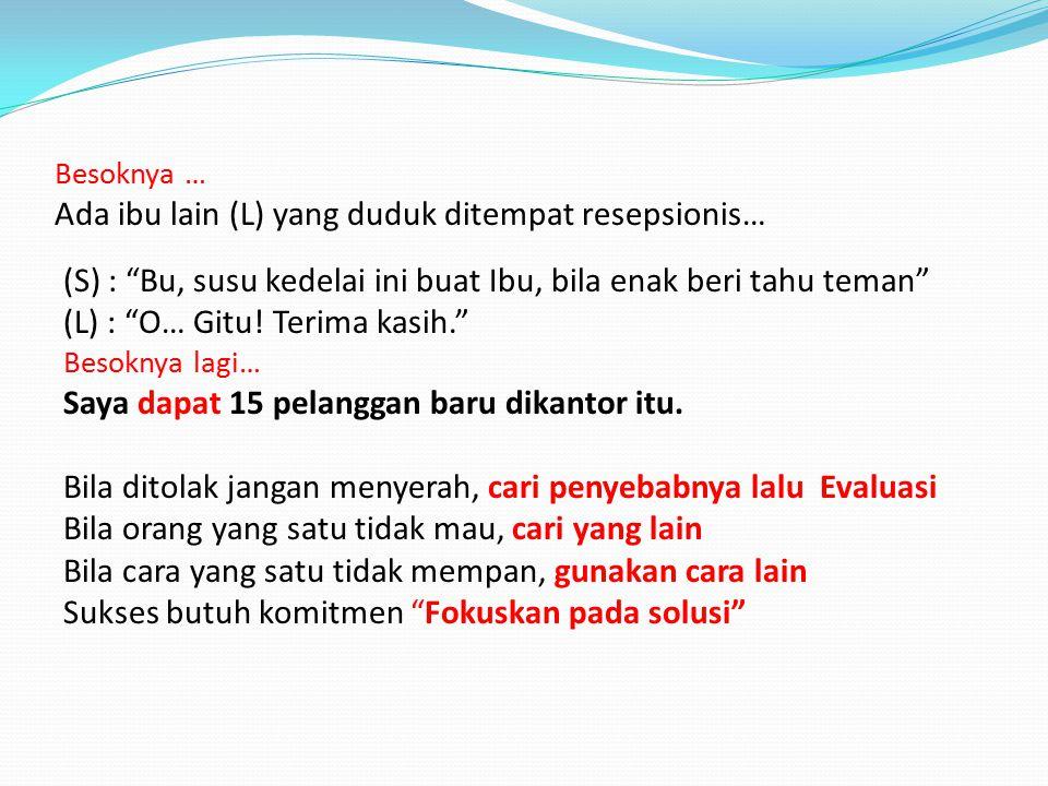 ( , kataku dihati) TEKAD SAAT menjual susu kedelai pada gedung-gedung di Sudirman (Jakarta) terjadi pembicaraan Saya (S) dan Resepsionis (R) : (S) : Mau susu kedelai Bu (R) : Tidak .