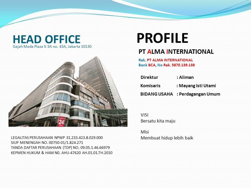 HEAD OFFICE Gajah Mada Plaza lt 3A no.43A, Jakarta 10130 PROFILE PT ALMA INTERNATIONAL Rek.