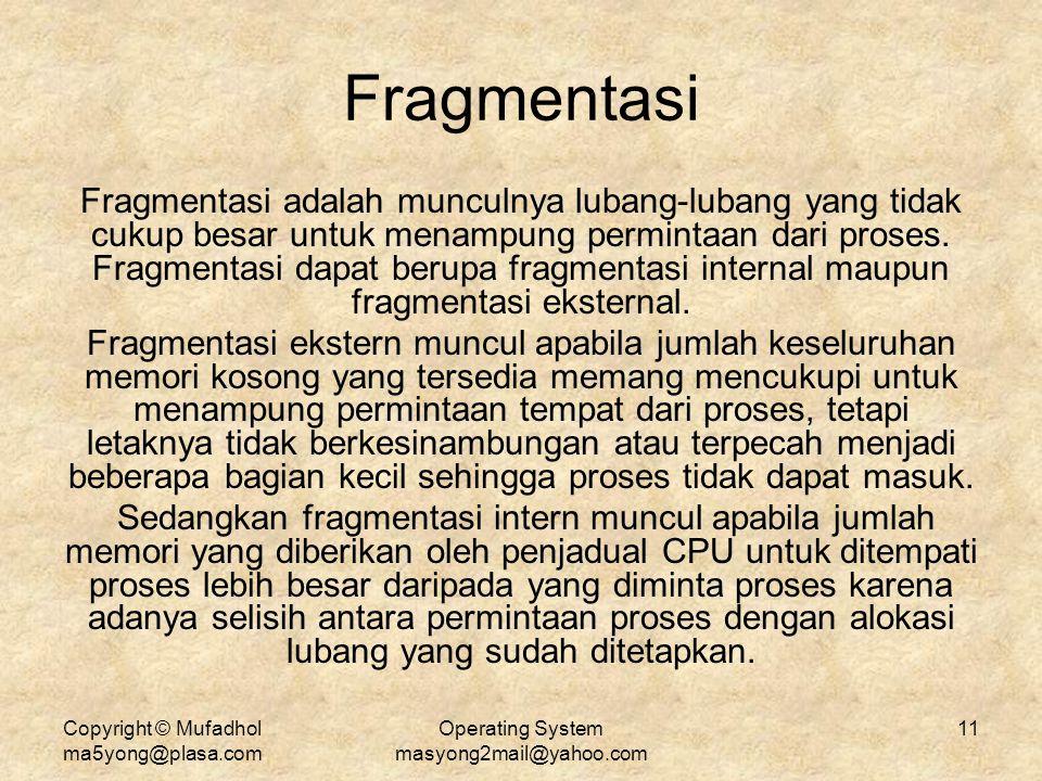Copyright © Mufadhol ma5yong@plasa.com Operating System masyong2mail@yahoo.com 11 Fragmentasi Fragmentasi adalah munculnya lubang-lubang yang tidak cu