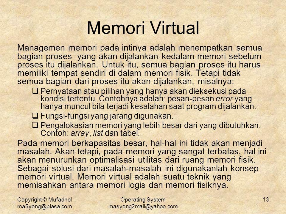 Copyright © Mufadhol ma5yong@plasa.com Operating System masyong2mail@yahoo.com 13 Memori Virtual Managemen memori pada intinya adalah menempatkan semu