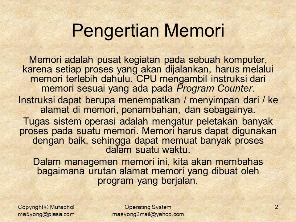 Copyright © Mufadhol ma5yong@plasa.com Operating System masyong2mail@yahoo.com 2 Pengertian Memori Memori adalah pusat kegiatan pada sebuah komputer,