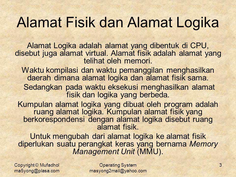 Copyright © Mufadhol ma5yong@plasa.com Operating System masyong2mail@yahoo.com 3 Alamat Fisik dan Alamat Logika Alamat Logika adalah alamat yang diben
