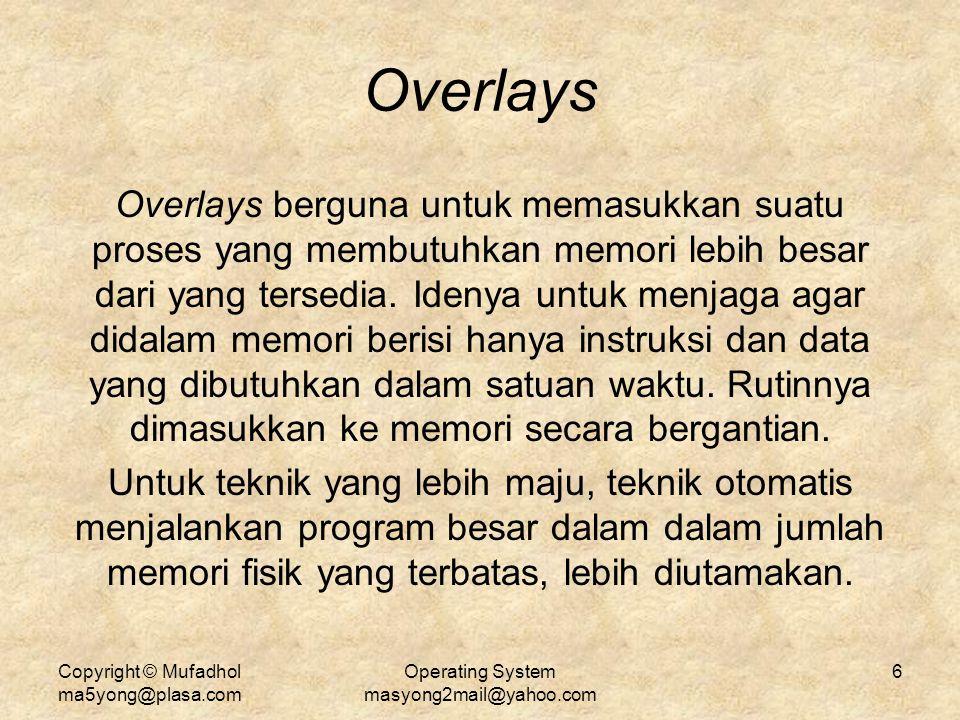 Copyright © Mufadhol ma5yong@plasa.com Operating System masyong2mail@yahoo.com 6 Overlays Overlays berguna untuk memasukkan suatu proses yang membutuh