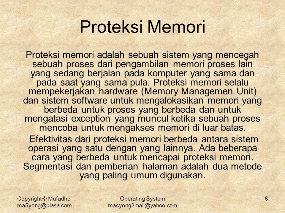 Copyright © Mufadhol ma5yong@plasa.com Operating System masyong2mail@yahoo.com 8 Proteksi Memori Proteksi memori adalah sebuah sistem yang mencegah se