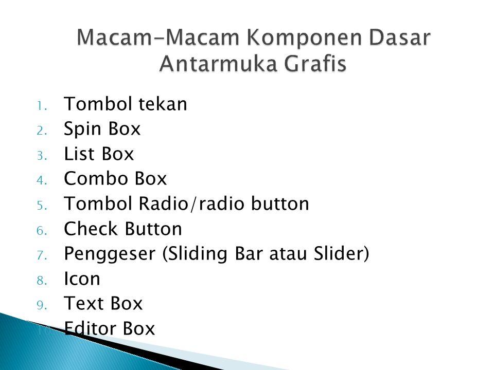 1. Tombol tekan 2. Spin Box 3. List Box 4. Combo Box 5. Tombol Radio/radio button 6. Check Button 7. Penggeser (Sliding Bar atau Slider) 8. Icon 9. Te
