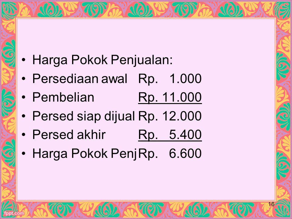 Harga Pokok Penjualan: Persediaan awalRp.1.000 PembelianRp.