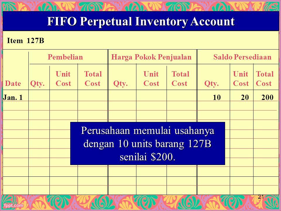 Item 127B FIFO Perpetual Inventory Account PembelianHarga Pokok PenjualanSaldo Persediaan UnitTotalUnitTotalUnitTotal Date Qty.Cost Cost Qty.CostCost Qty.CostCost Jan.