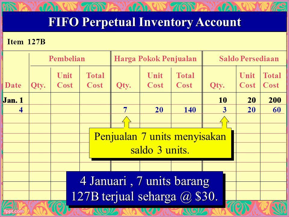 23 Item 127B FIFO Perpetual Inventory Account PembelianHarga Pokok PenjualanSaldo Persediaan UnitTotalUnitTotalUnitTotal Date Qty.Cost Cost Qty.CostCost Qty.CostCost Penjualan 7 units menyisakan saldo 3 units.