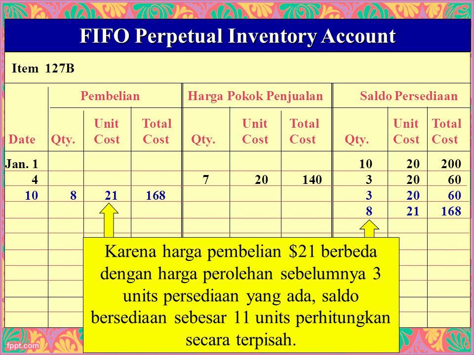 25 Item 127B FIFO Perpetual Inventory Account PembelianHarga Pokok PenjualanSaldo Persediaan UnitTotalUnitTotalUnitTotal Date Qty.Cost Cost Qty.CostCost Qty.CostCost Jan.