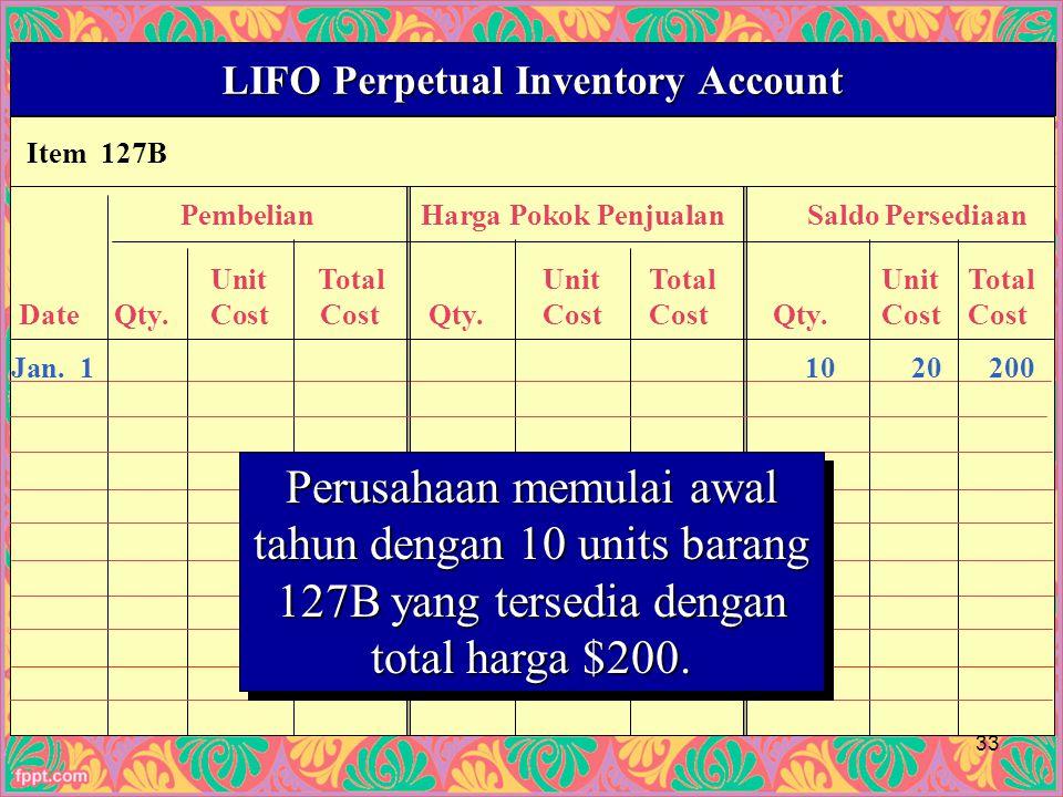 Item 127B LIFO Perpetual Inventory Account PembelianHarga Pokok PenjualanSaldo Persediaan UnitTotalUnitTotalUnitTotal Date Qty.Cost Cost Qty.CostCost Qty.CostCost Jan.