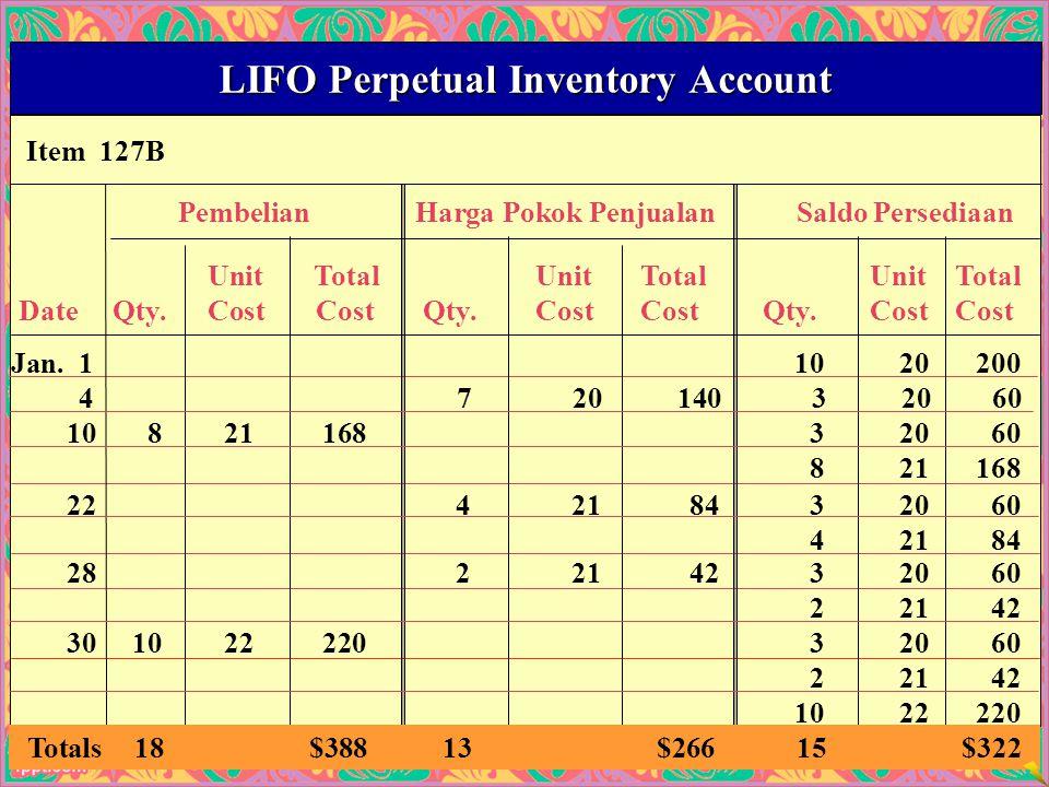 39 Item 127B LIFO Perpetual Inventory Account PembelianHarga Pokok PenjualanSaldo Persediaan UnitTotalUnitTotalUnitTotal Date Qty.Cost Cost Qty.CostCost Qty.CostCost Jan.