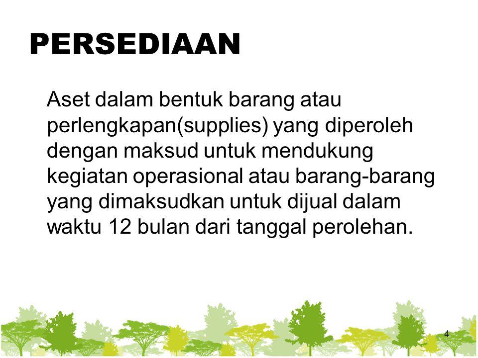 PERSEDIAAN Aset dalam bentuk barang atau perlengkapan(supplies) yang diperoleh dengan maksud untuk mendukung kegiatan operasional atau barang-barang yang dimaksudkan untuk dijual dalam waktu 12 bulan dari tanggal perolehan.