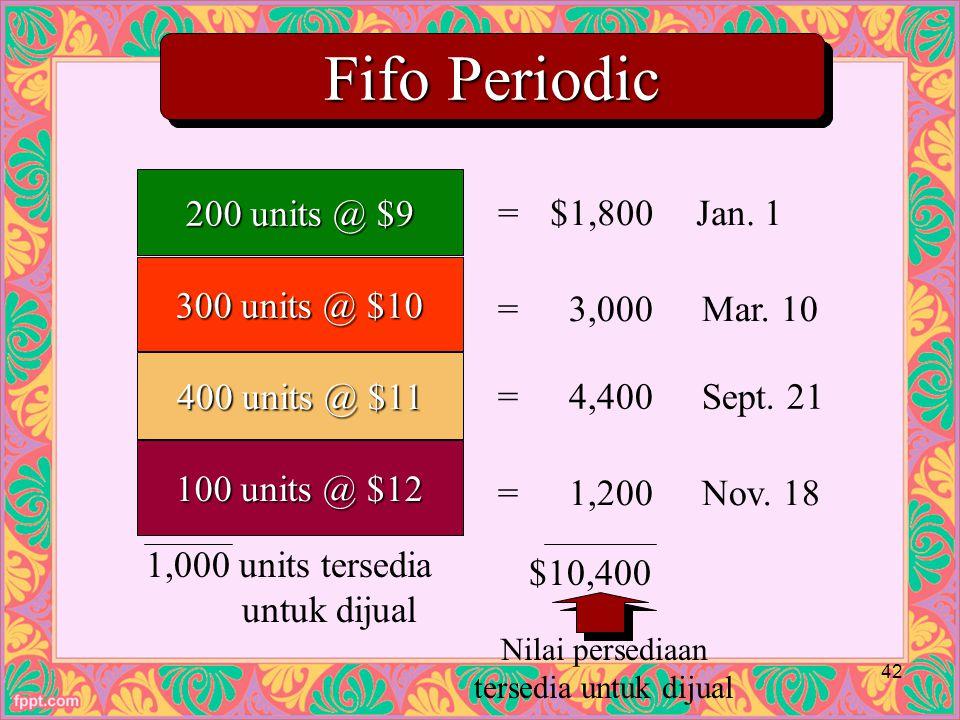 Fifo Periodic 200 units @ $9 300 units @ $10 400 units @ $11 100 units @ $12 1,000 units tersedia untuk dijual $10,400 =$1,800Jan.
