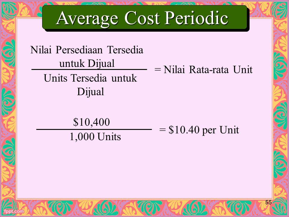 Nilai Persediaan Tersedia untuk Dijual Units Tersedia untuk Dijual = Nilai Rata-rata Unit $10,400 1,000 Units = $10.40 per Unit Average Cost Periodic 55