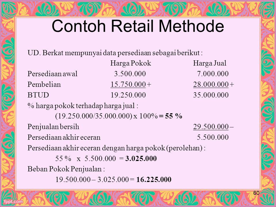 Contoh Retail Methode 60 UD.