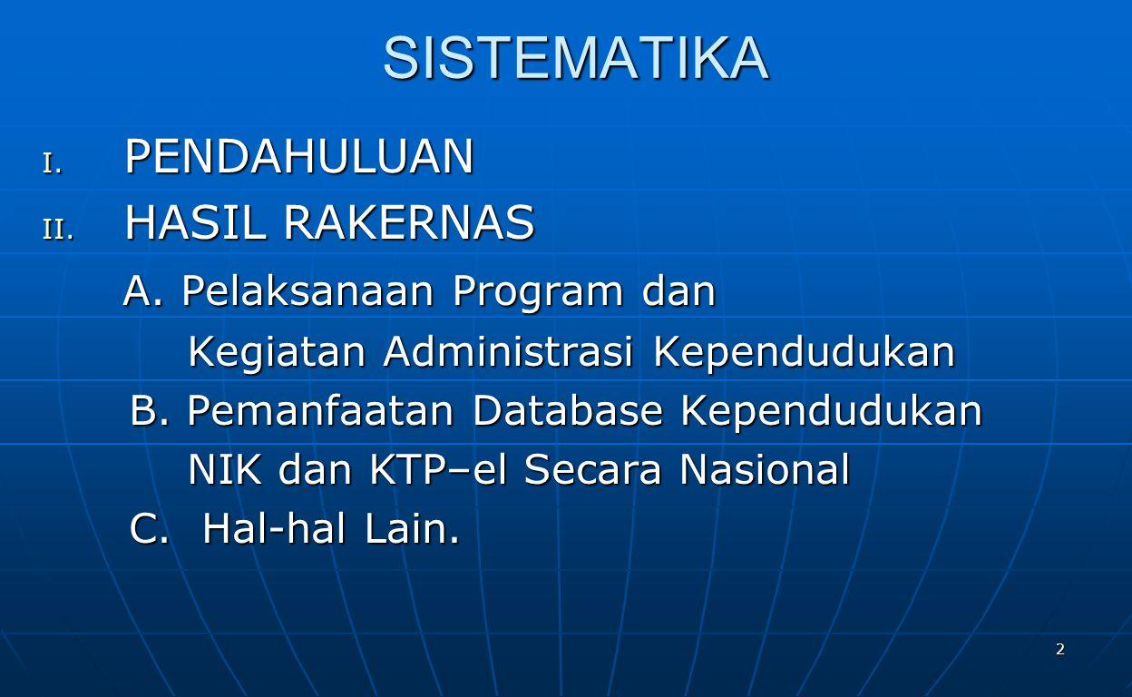 2 SISTEMATIKA I.PENDAHULUAN II. HASIL RAKERNAS A.