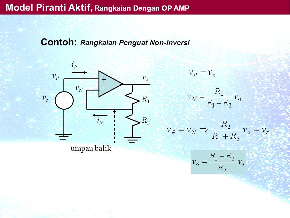 Contoh: Rangkaian Penguat Non-Inversi ++ ++ iPiP iNiN vPvP vsvs vNvN R1R1 R2R2 vo vo umpan balik Model Piranti Aktif, Rangkaian Dengan OP AMP