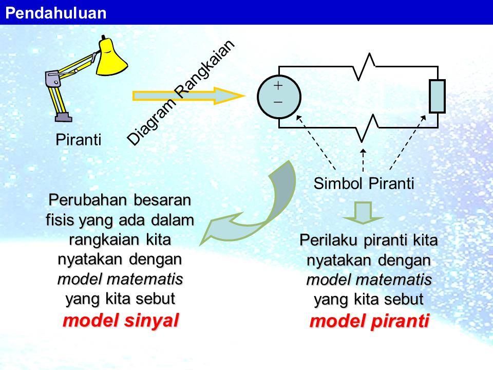 Piranti Diagram Rangkaian Perubahan besaran fisis yang ada dalam rangkaian kita nyatakan dengan model matematis yang kita sebut model sinyal Perilaku