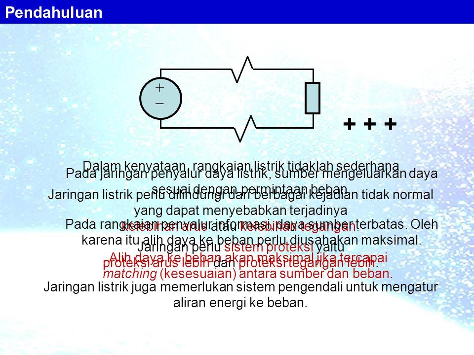++ Dalam kenyataan, rangkaian listrik tidaklah sederhana Jaringan listrik perlu dilindungi dari berbagai kejadian tidak normal yang dapat menyebabka