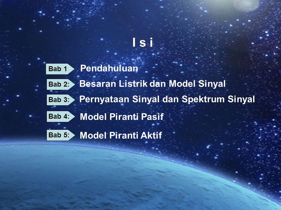 I s i Pernyataan Sinyal dan Spektrum Sinyal Besaran Listrik dan Model Sinyal Model Piranti Pasif Model Piranti Aktif Pendahuluan Bab 1 Bab 2: Bab 3: B