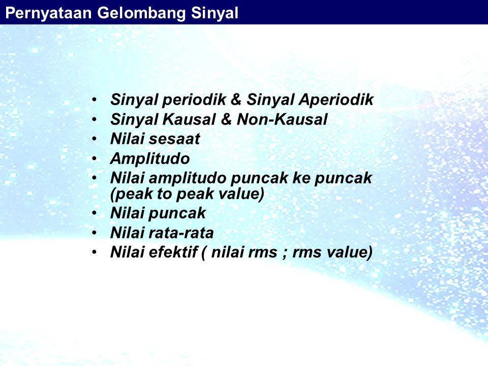 Sinyal periodik & Sinyal Aperiodik Sinyal Kausal & Non-Kausal Nilai sesaat Amplitudo Nilai amplitudo puncak ke puncak (peak to peak value) Nilai punca