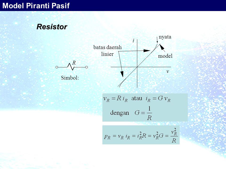 Resistor Simbol: R i v nyata model batas daerah linier