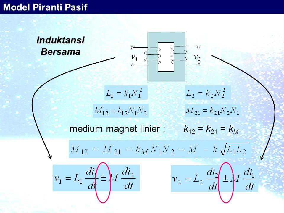 i1i1 i2i2 v1v1 v2v2 k 12 = k 21 = k M medium magnet linier : Induktansi Bersama Model Piranti Pasif