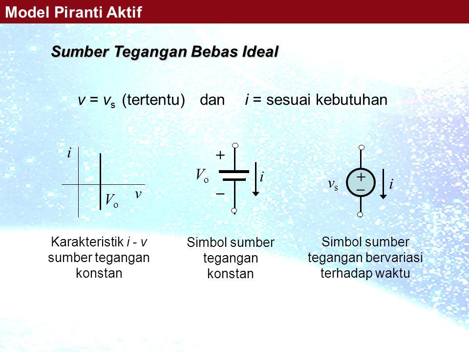v = v s (tertentu) dan i = sesuai kebutuhan v i VoVo + _ vsvs i ++ VoVo i Karakteristik i - v sumber tegangan konstan Simbol sumber tegangan bervari