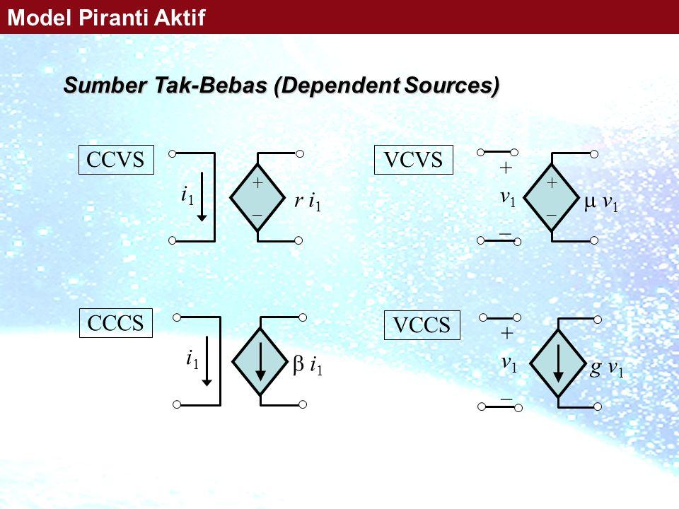 +_+_ i1i1 r i 1 CCVS +_+_  v1 v1 + v 1 _ VCVS  i1 i1 i1i1 CCCS g v 1 + v 1 _ VCCS Sumber Tak-Bebas (Dependent Sources) Model Piranti Aktif