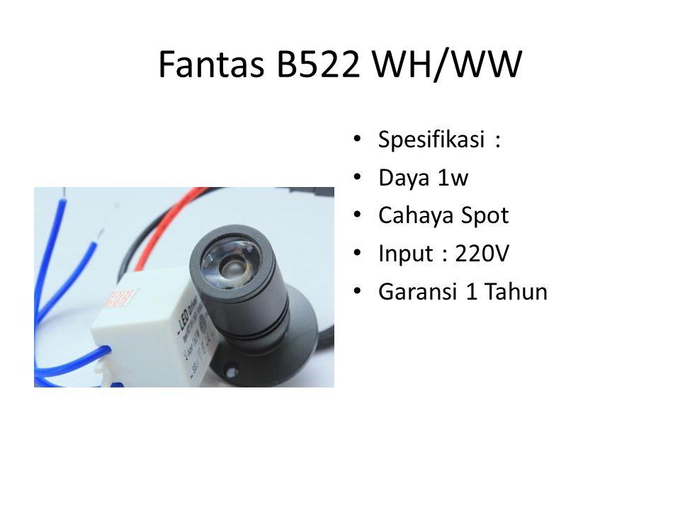 Fantas B522 WH/WW Spesifikasi : Daya 1w Cahaya Spot Input : 220V Garansi 1 Tahun