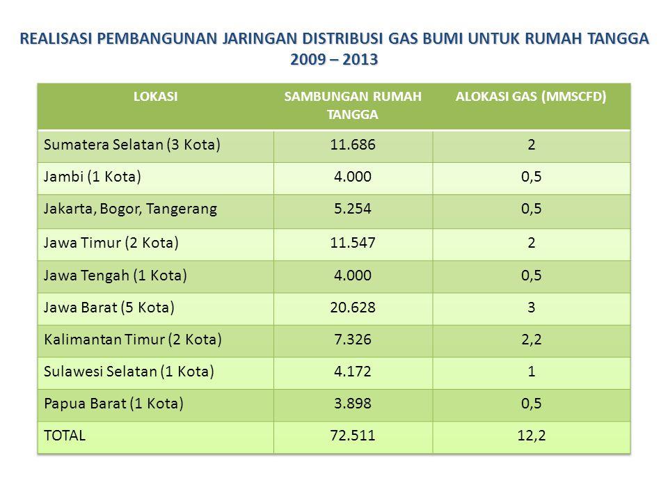 REALISASI PEMBANGUNAN JARINGAN DISTRIBUSI GAS BUMI UNTUK RUMAH TANGGA 2009 – 2013