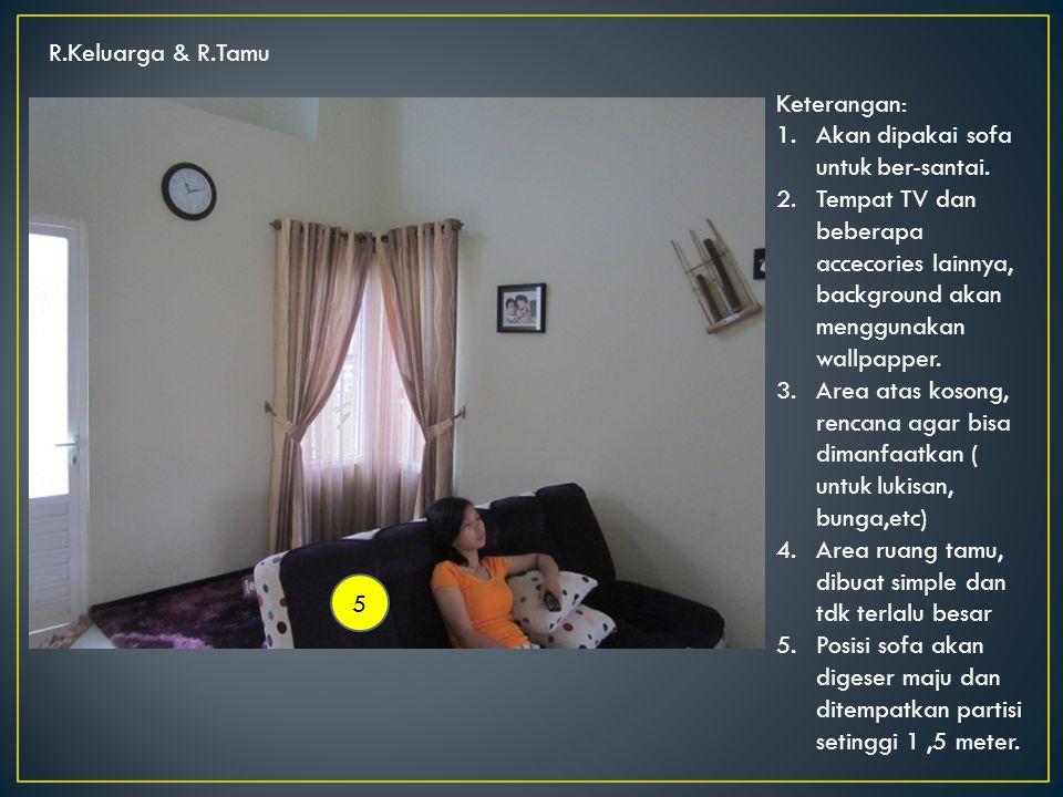 R.Keluarga & R.Tamu 5 Keterangan: 1.Akan dipakai sofa untuk ber-santai.