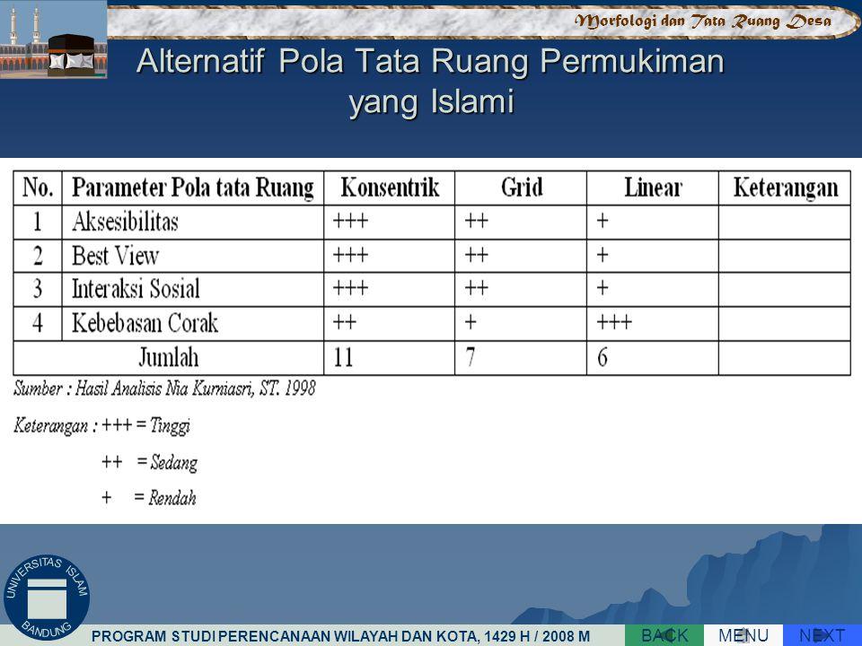 Alternatif Pola Tata Ruang Permukiman yang Islami NEXTBACKMENU PROGRAM STUDI PERENCANAAN WILAYAH DAN KOTA, 1429 H / 2008 M Morfologi dan Tata Ruang Desa