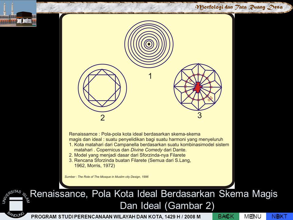 Renaissance, Pola Kota Ideal Berdasarkan Skema Magis Dan Ideal (Gambar 2) NEXTBACKMENU PROGRAM STUDI PERENCANAAN WILAYAH DAN KOTA, 1429 H / 2008 M Mor