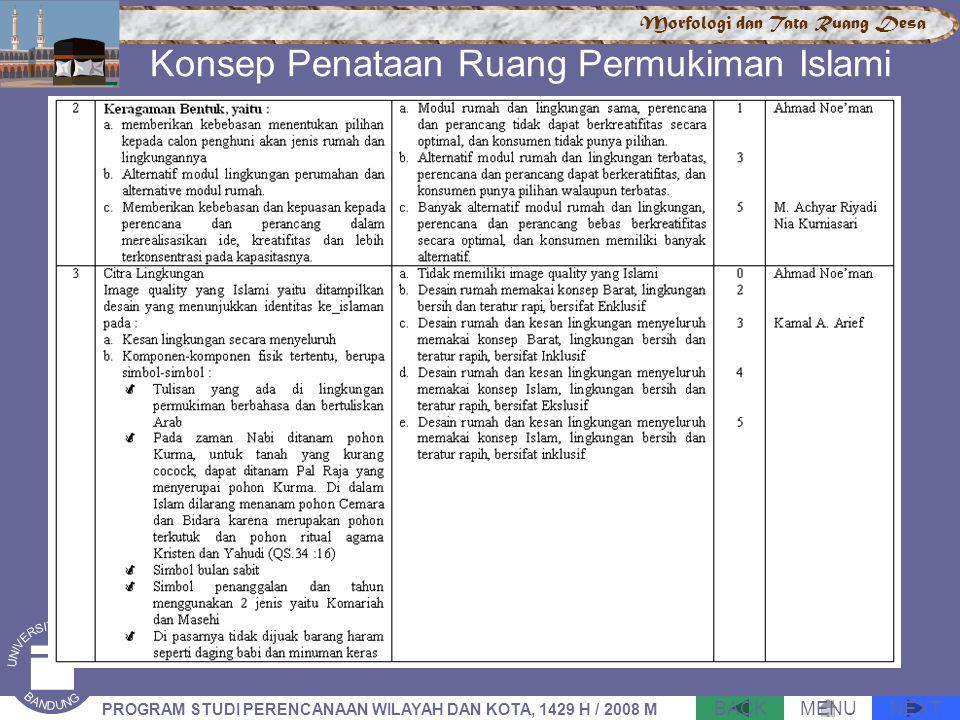 NEXTBACKMENU PROGRAM STUDI PERENCANAAN WILAYAH DAN KOTA, 1429 H / 2008 M Morfologi dan Tata Ruang Desa Konsep Penataan Ruang Permukiman Islami