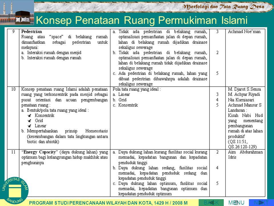 Konsep Penataan Ruang Permukiman Islami NEXTBACKMENU PROGRAM STUDI PERENCANAAN WILAYAH DAN KOTA, 1429 H / 2008 M Morfologi dan Tata Ruang Desa