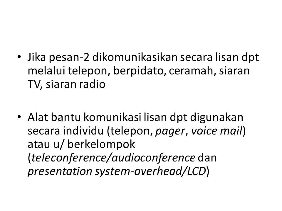 Jika pesan-2 dikomunikasikan secara lisan dpt melalui telepon, berpidato, ceramah, siaran TV, siaran radio Alat bantu komunikasi lisan dpt digunakan secara individu (telepon, pager, voice mail) atau u/ berkelompok (teleconference/audioconference dan presentation system-overhead/LCD)