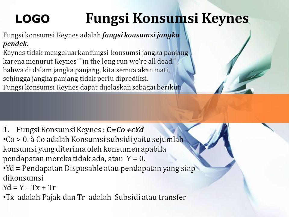 LOGO Fungsi Konsumsi Keynes Fungsi konsumsi Keynes adalah fungsi konsumsi jangka pendek.