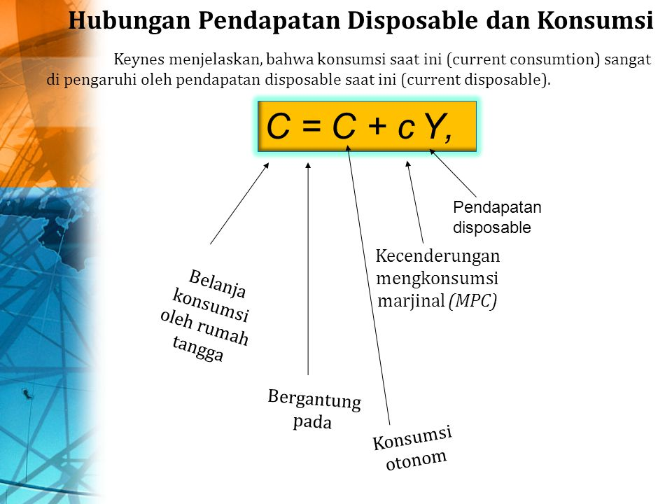 C = C + c Y, Hubungan Pendapatan Disposable dan Konsumsi Keynes menjelaskan, bahwa konsumsi saat ini (current consumtion) sangat di pengaruhi oleh pendapatan disposable saat ini (current disposable).