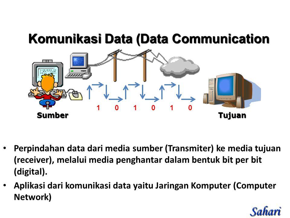 101010101010 Perpindahan data dari media sumber (Transmiter) ke media tujuan (receiver), melalui media penghantar dalam bentuk bit per bit (digital).