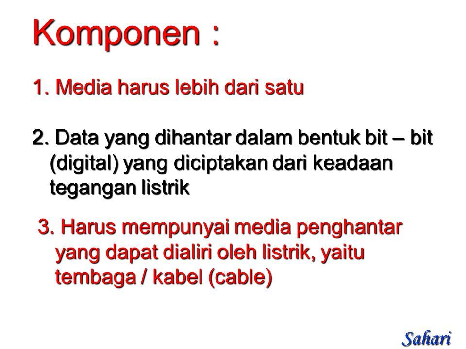 1. Media harus lebih dari satu Komponen : 2.