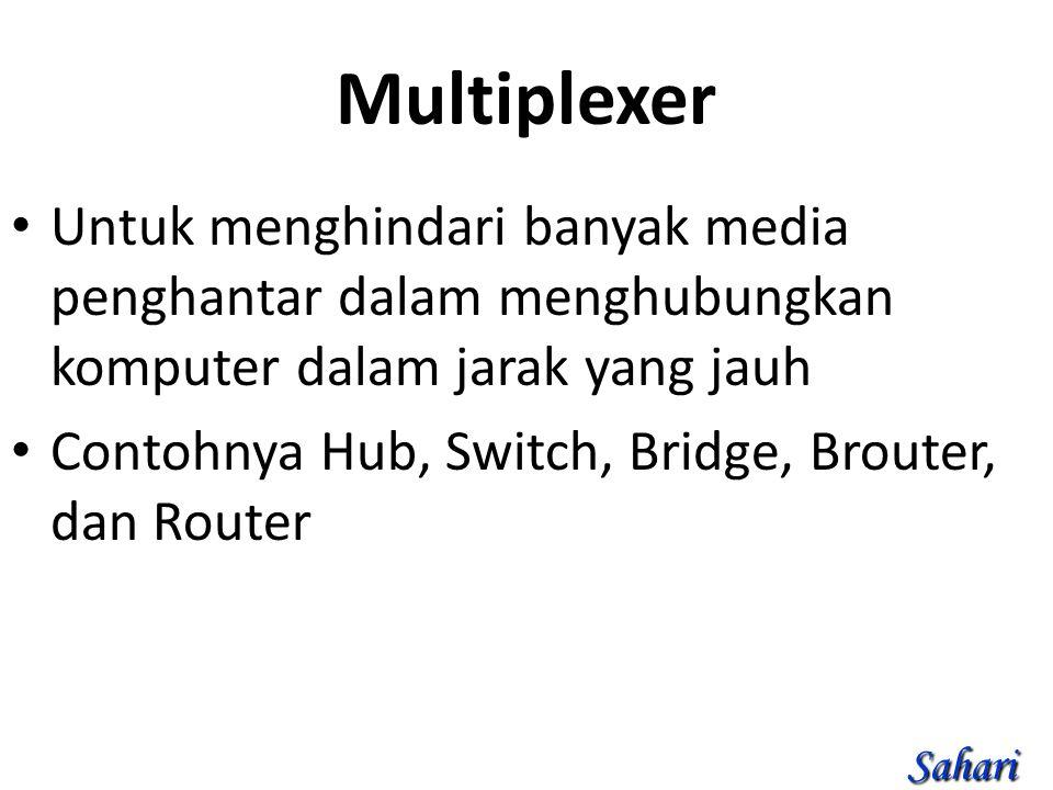 Multiplexer Untuk menghindari banyak media penghantar dalam menghubungkan komputer dalam jarak yang jauh Contohnya Hub, Switch, Bridge, Brouter, dan Router Sahari