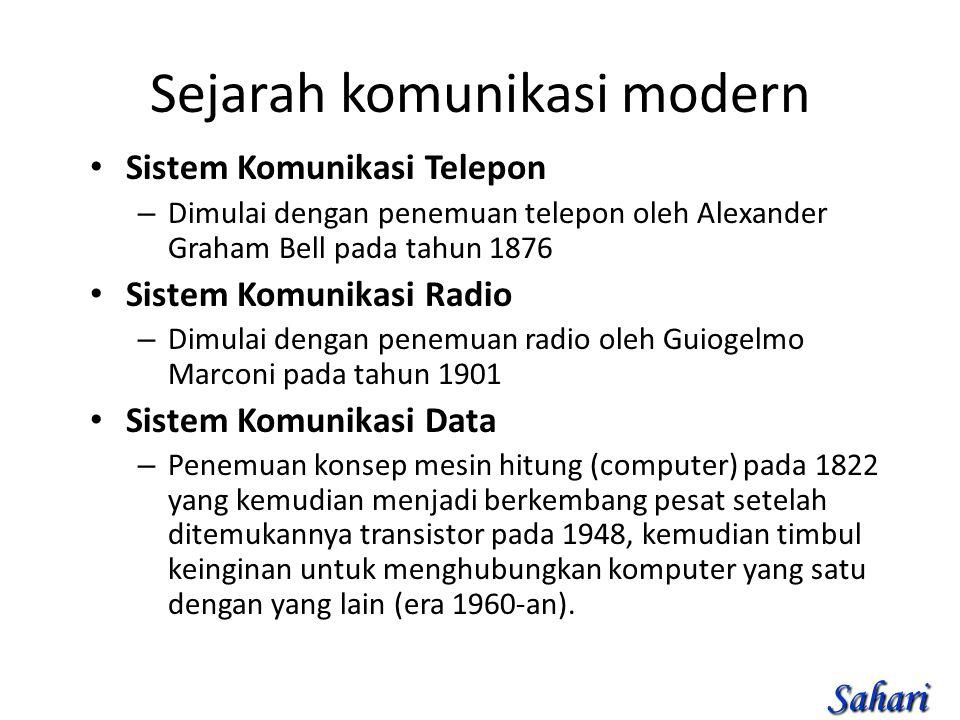 Sejarah komunikasi modern Sistem Komunikasi Telepon – Dimulai dengan penemuan telepon oleh Alexander Graham Bell pada tahun 1876 Sistem Komunikasi Radio – Dimulai dengan penemuan radio oleh Guiogelmo Marconi pada tahun 1901 Sistem Komunikasi Data – Penemuan konsep mesin hitung (computer) pada 1822 yang kemudian menjadi berkembang pesat setelah ditemukannya transistor pada 1948, kemudian timbul keinginan untuk menghubungkan komputer yang satu dengan yang lain (era 1960-an).