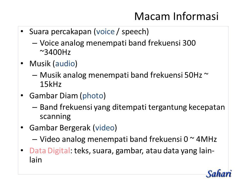 Macam Informasi Suara percakapan (voice / speech) – Voice analog menempati band frekuensi 300 ~3400Hz Musik (audio) – Musik analog menempati band frekuensi 50Hz ~ 15kHz Gambar Diam (photo) – Band frekuensi yang ditempati tergantung kecepatan scanning Gambar Bergerak (video) – Video analog menempati band frekuensi 0 ~ 4MHz Data Digital: teks, suara, gambar, atau data yang lain- lain Sahari