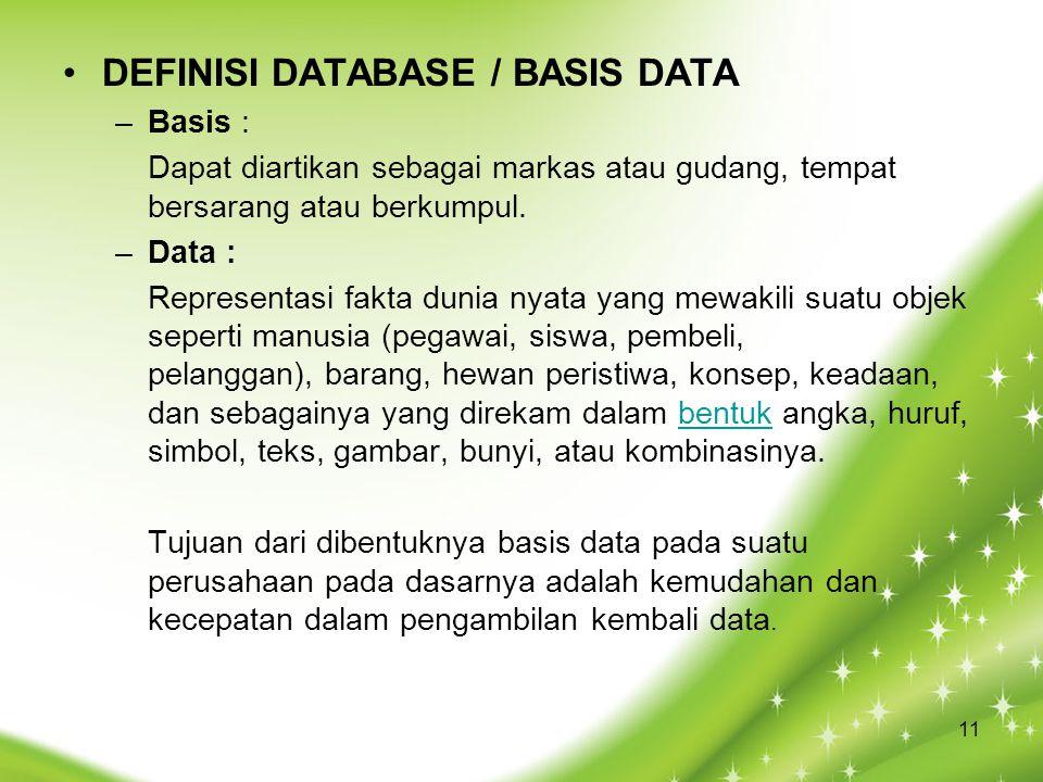 DEFINISI DATABASE / BASIS DATA –Basis : Dapat diartikan sebagai markas atau gudang, tempat bersarang atau berkumpul. –Data : Representasi fakta dunia