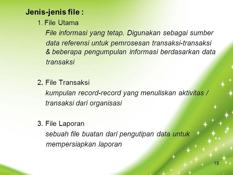 Jenis-jenis file : 1. File Utama File informasi yang tetap. Digunakan sebagai sumber data referensi untuk pemrosesan transaksi-transaksi & beberapa pe