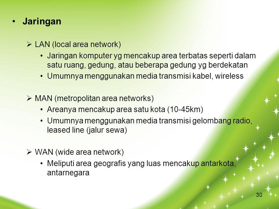 Jaringan  LAN (local area network) Jaringan komputer yg mencakup area terbatas seperti dalam satu ruang, gedung, atau beberapa gedung yg berdekatan U